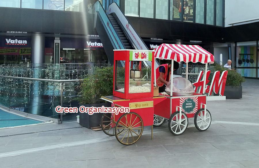 popcorn arabası ve pamuk şeker arabaları